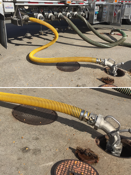 Vapor Recovery Hose Coming From a Tank Truck